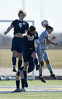 NWA Democrat-Gazette/CHARLIE KAIJO Bentonville West High School and Springdale High School players collide during a soccer game, Friday, March 15, 2019 at Bentonville West in Centerton.