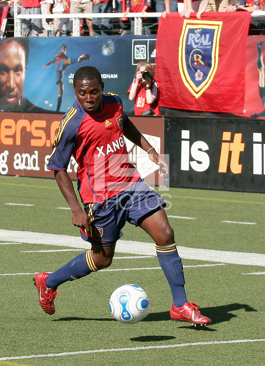 Real Salt Lake midfielder Freddy Adu in the Real Salt Lake 2-2 draw with FC Dallas at Rice Eccles Stadium in Salt Lake City, Utah April 7, 2007