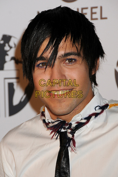 PETE WENTZ .Attending The Nakheel Introduction of The Trump International Hotel & Tower Dubai held at The Tar Estate in Bel Air, California on August 23rd 2008.                                                                     .portrait headshot white shirt tie rope plaited blue purple mascara make-up .CAP/ADM/BP.©Byron Purvis/Admedia/Capital PIctures