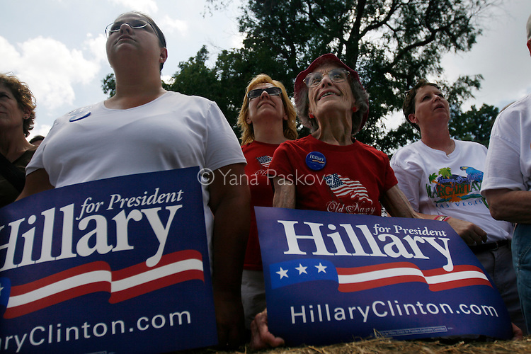 The crowd at the National Cattle Congress in Waterloo, Iowa, show their support for Democratic Presidential hopeful Hillary Clinton (D-NY) and her husband, former President Bill Clinton, who campaigned there on July 4, 2007.