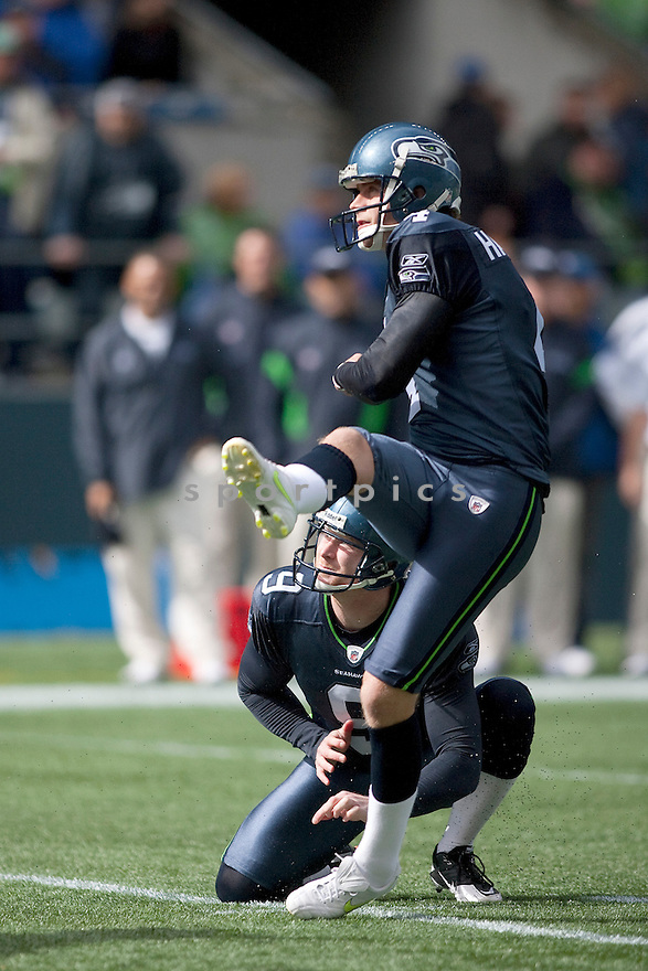 STEVEN HAUSCHKA, of the Seattle Seahawks, in action during the Seahawks game against the Arizona Cardinals on September 25, 2011 at Century Link Field in Seattle, WA. The Seahawks beat the Cardinals 13-10.