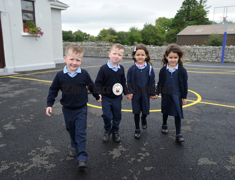 Twins Brody and Finn O Donoghue and  twins Aisling and Julie Noleto da Silva during their first day of school at Boston NS. Photograph by John Kelly.
