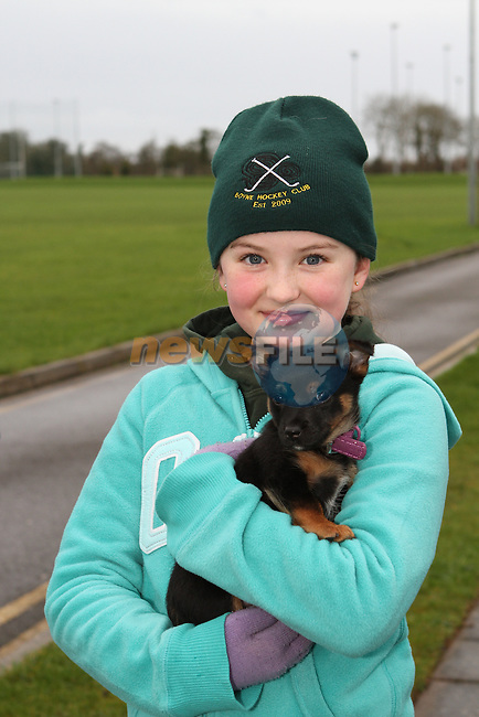 Holly Murphy with her new puppy Izzy at the Goal Mile Walk in Beaulieu on Stephens Day...Photo NEWSFILE/Jenny Matthews..(Photo credit should read Jenny Matthews/NEWSFILE)