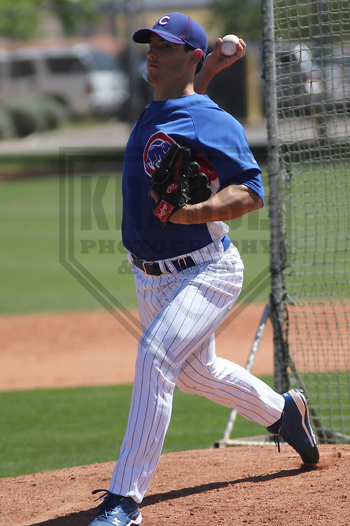 MESA - March 2013: Dillon Maples  of the Chicago Cubs during a Spring Training game against the Cincinnati Reds on March 24, 2013 at Fitch Park in Mesa, Arizona.  (Photo by Brad Krause). .