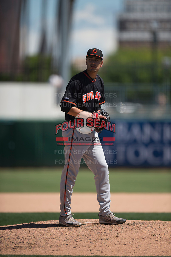 San Jose Giants relief pitcher JJ Santa Cruz (50) during a California League game against the Stockton Ports on April 9, 2019 in Stockton, California. San Jose defeated Stockton 4-3. (Zachary Lucy/Four Seam Images)