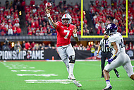 Indianapolis, IN - DEC 1, 2018: Ohio State Buckeyes quarterback Dwayne Haskins (7) throws a strike at the goaline for a touchdown during second half action of the Big Ten Championship game between Northwestern and Ohio State at Lucas Oil Stadium in Indianapolis, IN. Ohio State defeated Northwestern 45-24. (Photo by Phillip Peters/Media Images International)