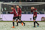 10.03.2019, HDI Arena, Hannover, GER, 1.FBL, Hannover 96 vs Bayer 04 Leverkusen<br /> <br /> DFL REGULATIONS PROHIBIT ANY USE OF PHOTOGRAPHS AS IMAGE SEQUENCES AND/OR QUASI-VIDEO.<br /> <br /> im Bild / picture shows<br /> Linton Maina (Hannover 96 #40), Waldemar Anton (Hannover 96 #31), Marvin Bakalorz (Hannover 96 #06) Kapit&auml;n / mit Kapit&auml;nsbinde, <br /> <br /> Foto &copy; nordphoto / Ewert