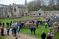 Wednesday 26 March 2014<br /> Pictured: The Troops are presented with medals<br /> Re: 236 Signal Squadron ( part of 14 Signal regiment who are based at Cawdor Barracks in Brawdy Parade through the streets of  St.Davids Pembrokeshire led by Haverfordwest Air Training Corps Band and are then Presented with medals