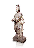 Roman statue of Athena. Marble. Perge. 2nd century AD. Inv no . Antalya Archaeology Museum; Turkey. Against a white background.