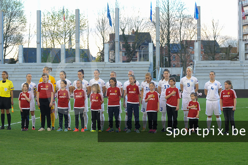 20160412 - LEUVEN ,  BELGIUM : Estonian team with Getter Laar (1)  Pille Raadik (4)  Daniela Mona Lambin (5)  Katrin Loo (7)  Signy Aarna (9)  Aljona Sasova (10)  Vlada Kubassova (13)  Inna Zlidnis (15)  Eneli Vals (17)  Kethy Ounpuu (18)  Ketlin Saar (20)  pictured during the female soccer game between the Belgian Red Flames and Estonia , the fifth game in the qualification for the European Championship in The Netherlands 2017  , Tuesday 12 th April 2016 at Stadion Den Dreef  in Leuven , Belgium. PHOTO SPORTPIX.BE / DIRK VUYLSTEKE