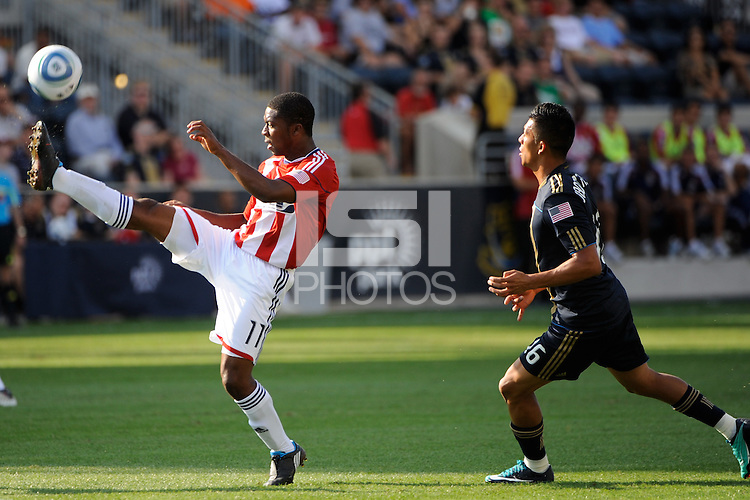Michael Lahoud (11) of CD Chivas USA plays the ball. The Philadelphia Union defeated CD Chivas USA 3-0 during a Major League Soccer (MLS) match at PPL Park in Chester, PA, on September 25, 2010.