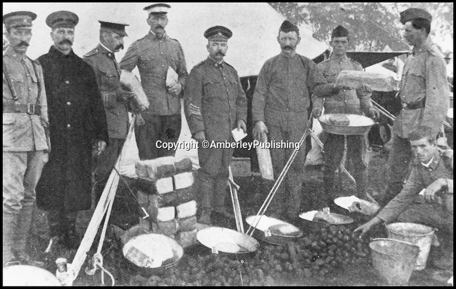 BNPS.co.uk (01202 558833)<br /> Pic:AmberleyPublishing/BNPS<br /> <br /> ***Please Use Full Byline***<br /> <br /> WW1 soldiers are seen preparing meals. <br /> <br /> A cookbook for WWI soldiers has been published for the first time in 100 years revealing the surprising recipes that British Tommies lived on in the trenches.<br /> <br /> Hundreds of thousands of troops were armed with The British Army Cook Book as they headed to off war in 1914.<br /> <br /> The book contained detailed instructions on how to rustle up mouth-watering menus to feed entire platoons using meagre war-time rations.<br /> <br /> The dishes might sound tempting but in reality those on the frontlines would have had to rely more on powdered foods because fresh produce often took too long to reach them.<br /> <br /> The 1914 British Army Cook Book has been reprinted by Amberley Publishing for the first time since it was first issued 100 years ago.<br /> <br /> It is on sale now for &pound;9.99.