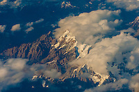 Aerial view over Tibet (Xizang) flying from Lhasa to Chengdu, China.