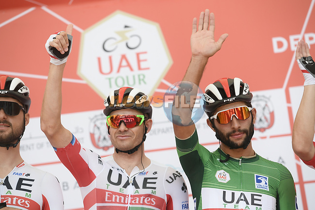 Alexander Kristoff (NOR) and Green Jersey holder Fernando Gaviria (COL) UAE Team Emirates at sign on before the start of Stage 3 of the 2019 UAE Tour, running 179km form Al Ain to Jebel Hafeet, Abu Dhabi, United Arab Emirates. 26th February 2019.<br /> Picture: LaPresse/Fabio Ferrari | Cyclefile<br /> <br /> <br /> All photos usage must carry mandatory copyright credit (© Cyclefile | LaPresse/Fabio Ferrari)