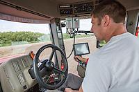 Drilling oil seed rape; applyinmg liquid nitrogen & slug pellets with a Case Quadtrac 580 and 9m Stripcat drill - Lincolnshire, August