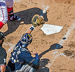 23 August 2015: Milwaukee Brewers catcher Jonathan Lucroy pulls in an outside pitch during a game against the Washington Nationals at Nationals Park in Washington, DC. The Nationals defeated the Brewers 9-5 in the third game of their 3-game weekend series. Mandatory Credit: Ed Wolfstein Photo *** RAW (NEF) Image File Available ***
