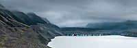 Moody evening at Tasman Glacier and its lake, Aoraki, Mt. Cook National Park, Mackenzie Country, UNESCO World Heritage Area, New Zealand, NZ