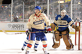 Rochester Amerks winger Joel Armia (33) sets up in front of Lake Erie Monsters goalie Calvin Pickard (31) during the first period of The Frozen Frontier outdoor AHL game at Frontier Field on December 13, 2013 in Rochester, New York.  (Copyright Mike Janes Photography)