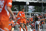14 April 2012: Carolina's John Krause heads the ball. The Carolina RailHawks played the Atlanta Silverbacks to a 4-4 tie at WakeMed Soccer Stadium in Cary, NC in a 2012 North American Soccer League (NASL) regular season game.