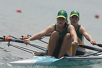 Beijing, CHINA, RSA, JW2X, bow Anthea DICKSON and Kate JOHNSTONE, during the  2007. FISA Junior World Rowing Championships Shunyi Water Sports Complex. Wed. 08.08.2007  [Photo, Peter Spurrier/Intersport-images]..... , Rowing Course, Shun Yi Water Complex, Beijing, CHINA,