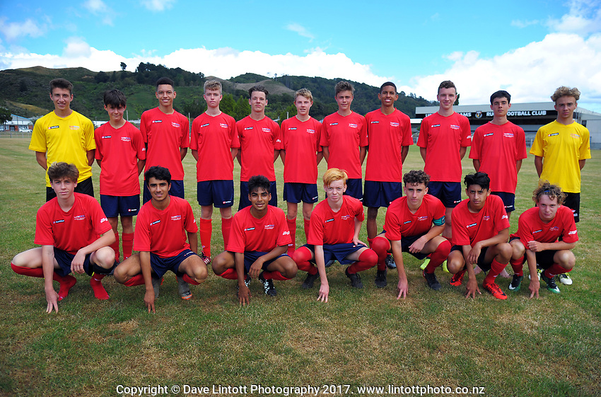 The New Zealand Age Group Championships WaiBoP Under-16 Boys team at Maidstone Park in Upper Hutt, Wellington, New Zealand on Thursday, 14 December 2017. Photo: Dave Lintott / lintottphoto.co.nz