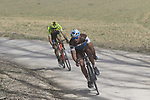 Tail end of the peloton on sector 5 Lucignano d'Asso during Strade Bianche 2019 running 184km from Siena to Siena, held over the white gravel roads of Tuscany, Italy. 9th March 2019.<br /> Picture: Eoin Clarke | Cyclefile<br /> <br /> <br /> All photos usage must carry mandatory copyright credit (&copy; Cyclefile | Eoin Clarke)