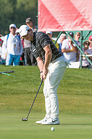 Rory Mcilroy (NIR) putt for birdie on the 15th hole during second round at the Omega European Masters, Golf Club Crans-sur-Sierre, Crans-Montana, Valais, Switzerland. 30/08/19.<br /> Picture Stefano DiMaria / Golffile.ie<br /> <br /> All photo usage must carry mandatory copyright credit (© Golffile | Stefano DiMaria)