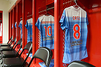 Bridgeview, IL - Saturday May 06, 2017: The jersey of Julie Johnston Ertz hangs in the locker room before a regular season National Women's Soccer League (NWSL) match between the Chicago Red Stars and the Houston Dash at Toyota Park.