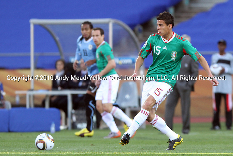 22 JUN 2010: Hector Moreno (MEX). The Mexico National Team lost 1-2 to the Uruguay National Team at Royal Bafokeng Stadium in Rustenburg, South Africa in a 2010 FIFA World Cup Group A match.