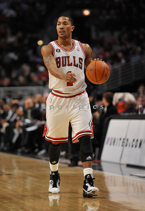 DERRICK ROSE, of the Chicago Bulls , in actions during the Bulls game against the Miami Heat at the United Center on January 15, 2011.  The Bulls won the game beating the Heat 99-96