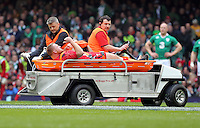 Pictured: Lee Samson of Wales gives the thumbs up as he is taken away by paramedics after getting injured Saturday 14 March 2015<br />