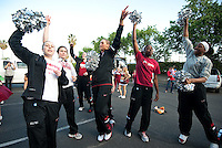 FRESNO, CA--Lindy LaRocque, Sara James, Joslyn Tinkle, Chiney Ogwumike and Nneka Ogwumike enjoy the band send-off before a 76-60 win over South Carolina at the Save Mart Center for the West Regionals semifinals of the 2012 NCAA Championships.