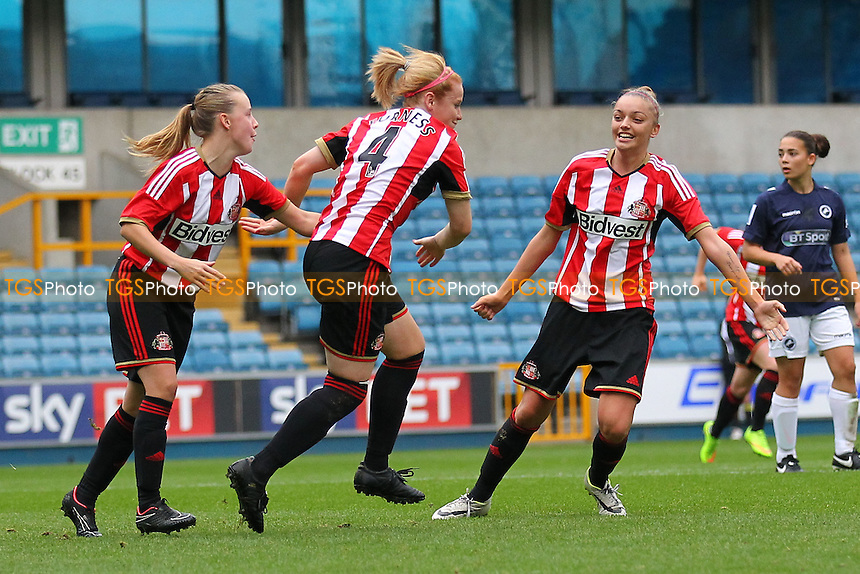 Rachel Furness of Sunderland AFC Ladies scores the second goal for her team and celebrates (C) - Millwall Lionesses vs Sunderland AFC Ladies - FA Womens Super League Football at Milwall FC, the New Den, London - 26/10/14 - MANDATORY CREDIT: Gavin Ellis/TGSPHOTO - Self billing applies where appropriate - contact@tgsphoto.co.uk - NO UNPAID USE