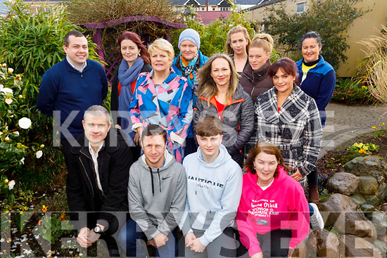 The group gathered at Recovery Haven on Monday who are doing the parachute jump for Recovery Haven in the coming weeks.<br /> Kneeling l to r: John Parker, Tom Broderick, Jack Clapham and Noreen O'Neill.<br /> Back l to r: Paddy Kevane, Pat Clapham, Lauren Fitzell, Marie O'Sullivan, Joesphine Sheehan, Nora Nagle, Michelle Ward, Jacinta Bradley (Recovery Haven) and Stephanie Horan.