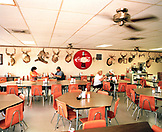 USA, Texas, people eating at Zimmerhanzel's Bar-B-Que restaurant, Smithville