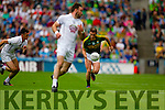 Stephen O'Brien, Kerry in action against Mick O'Grady, Kildare in the All Ireland Quarter Final at Croke Park on Sunday.