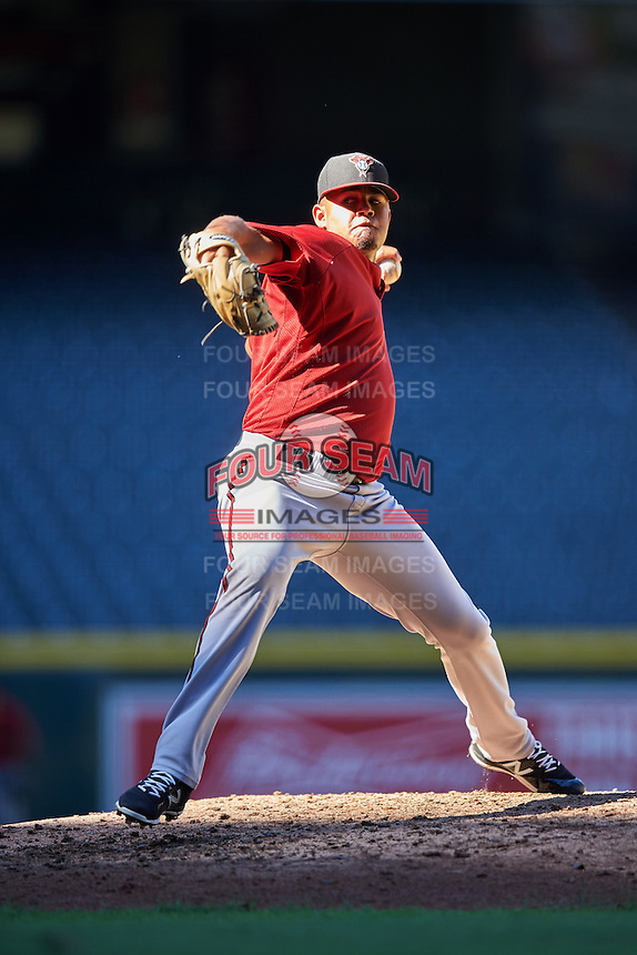 Arizona Diamondbacks pitcher Junior Garcia (15) during an Instructional League game against the Oakland Athletics on October 15, 2016 at Chase Field in Phoenix, Arizona.  (Mike Janes/Four Seam Images)