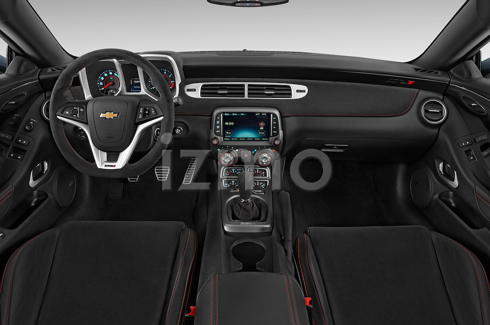 Stock photo of straight dashboard view of a 2015 Chevrolet Camaro ZL1 Coupe 2 Door  Dashboard