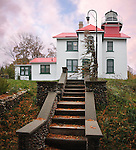 Evening Time At The Grand Traverse Lighthouse On A Dark And Stormy Autumn Day
