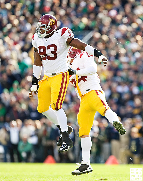 10/17/09 - South Bend, IN:  USC defensive end Everson Griffen celebrates a sack with linebacker Chris Galippo during their game against Notre Dame at Notre Dame Stadium on Saturday.  USC won the game 34-27 to extend its win streak over Notre Dame to 8 games.  Photo by Christopher McGuire.