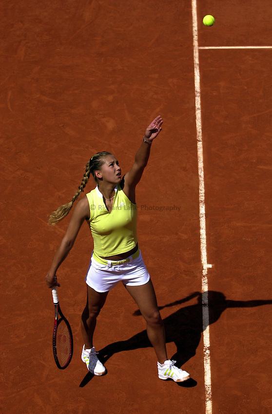 Photo. Richard Lane. .Roland Garros 2002, French Open Tennis. 29/5/2002.Anna Kournikova of Russia.