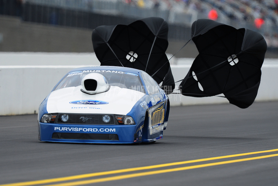 Sept. 17, 2011; Concord, NC, USA: NHRA pro stock driver Robert Patrick Jr during qualifying for the O'Reilly Auto Parts Nationals at zMax Dragway. Mandatory Credit: Mark J. Rebilas-US PRESSWIRE