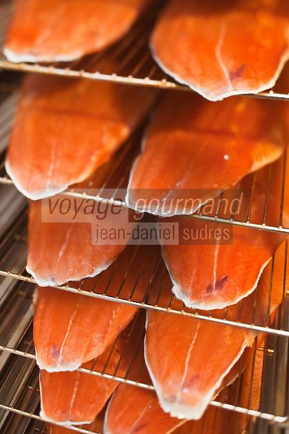 Europe/France/Aquitaine/64/Pyrénées-Atlantiques/Béarn/Pau: chez Jean-Marc Casteigt, fumeur de saumon, Maître Artisan Saurisseur - le saumon fumé dans el fumoir