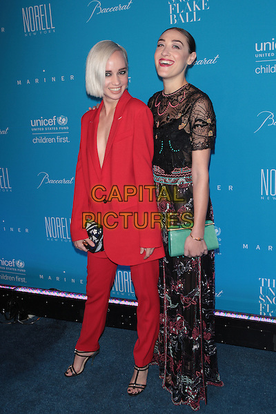 NEW YORK, NY - DECEMBER 1: Caitlin Moe and Mia Moretti at the 11th Annual UNICEF Snowflake Ball at Cipriani, Wall Street on December 1, 2015 in New York City.  <br /> CAP/MPI99<br /> &copy;MPI99/Capital Pictures