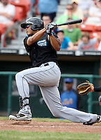 Syracuse Chiefs outfielder Justin Maxwell (18) during a game vs. the Buffalo Bisons at Coca-Cola Field in Buffalo, New York;  June 3, 2010.  Syracuse defeated Buffalo 7-1.  Photo By Mike Janes/Four Seam Images