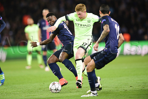 06.04.2016. Paris, France. UEFA CHampions League, quarter-final. Paris St Germain versus Manchester City.  Serge Aurier (PSG) checks Kevin De Bruyne (Manchester City)
