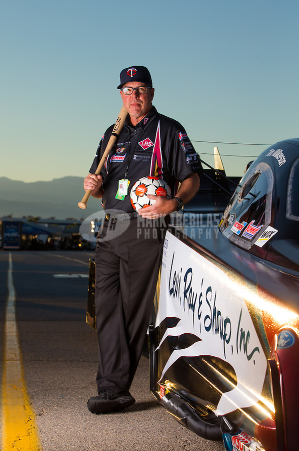 Oct 30, 2015; Las Vegas, NV, USA; Bob Wilber a crew member for NHRA funny car driver Tim Wilkerson poses for a portrait during qualifying for the Toyota Nationals at The Strip at Las Vegas Motor Speedway. Mandatory Credit: Mark J. Rebilas-USA TODAY Sports