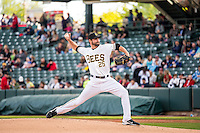 Nick Tropeano (25) of the Salt Lake Bees delivers a pitch to the plate against the Sacramento River Cats in Pacific Coast League action at Smith's Ballpark on April 17, 2015 in Salt Lake City, Utah.  (Stephen Smith/Four Seam Images)