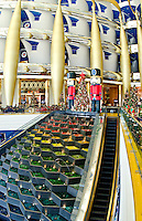 Interior of pillars abstract in the worlds only 7 star hotel the Burj Al Arab in Dubai in UAE where the economy and money is thriving in the United Arab Emirates