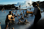 REYKJAVIK  --  OCTOBER 23, 2004:  Swimmers wait for beer at the Blue Lagoon on October 23, 2004 outside of Reykjavik, Iceland.  The geothermal spa is a popular place to recover after a night of clubbing.  (PHOTOGRAPH BY MICHAEL NAGLE).